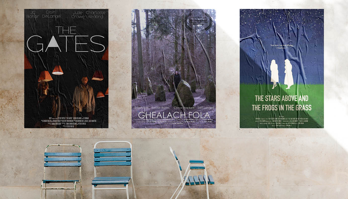 Movie posters of each film short, part of the BA Hons in Film and Television Production Degree at DkIT